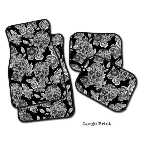 Sugar Skull Car Mats Set Of 4 Floor Mats From Inkandrags