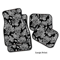 Sugar Skull Car Mats, Set of 4 Floor Mats for your car!  2 Front, 2 Rear, or all 4! Dia de los Muertos Car Mats.