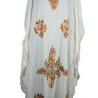 WHITE BEAUTIFUL KASHMIRI CAFTAN ETHNIC EMBROIDERED RESORT COVER UP KAFTAN DRESS