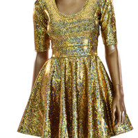 Gold Shattered Glass Fit and Flare Half Sleeve Skater Dress