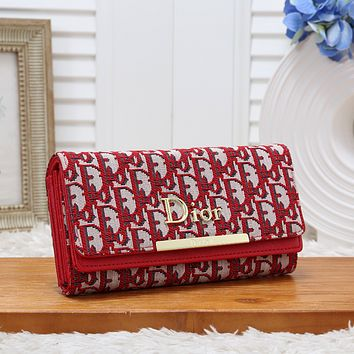 Dior Women Fashion Leather Purse Handbag Red