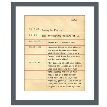 The Wizard of Oz by L. Frank Baum - Library Card Art Print - Book Lover Poster Library Poster - Children's Book Gift - Dewey Decimal System