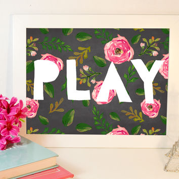 Floral PLAY Print, Instant Download