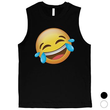 Emoji-Laughing Mens Funny Cute Silly Cool Halloween Muscle Shirt
