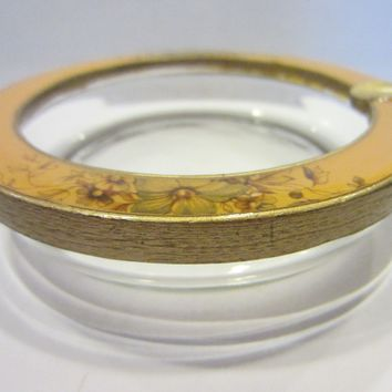 Brass Enameled Glass Ashtray Bowl Floral Ornamentation