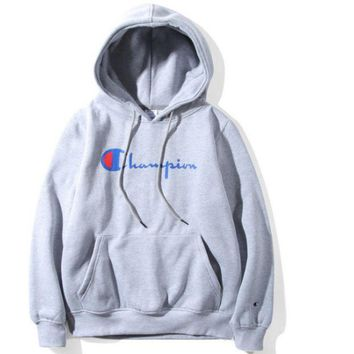 VONEYW7 champion classic letters printed men and women plus velvet hood hooded sweater jacket gray