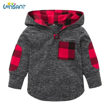 High quality Toddler Baby Boy Girl Plaid Hoodie Pocket Sweatshirt Pullover