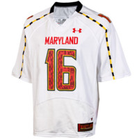 No.16 Maryland Terrapins Under Armour Replica Football Jersey – White