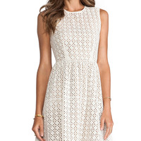 MM Couture by Miss Me Sleeveless Eyelet Dress in Ivory
