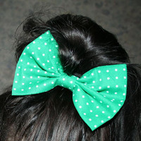 Green Big Hair Bow,Polka Dot Green Hair Bow,Hair Clip,Big Hair Bow,Girls Hair Bows