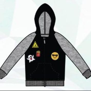 boys raglan sherpa lined hoodie with emoji patches Case of 24