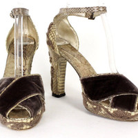 ELISA FERARE Brown Velvet & Embroidered Snakeskin Strappy Platform Sandals 8