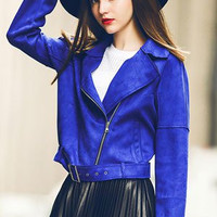 Blue Long-Sleeved Suede Lapel Jacket