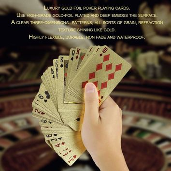 Portable Size Durable 24K Gold Foil Plated Playing Cards