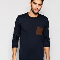 ASOS Crew Neck Jumper with Pocket Patch in Cotton at asos.com
