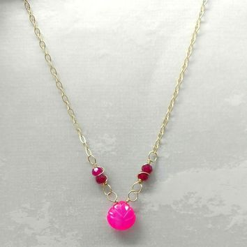 14 K Gold Filled Pink Fuchsia Chalcedony Drop Chain Necklace
