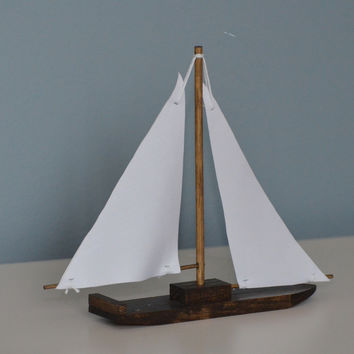 Single Wooden Sailboat with Fabric Sails