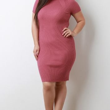 Mock Neck Sculpture Ribbed Knit Bodycon Dress