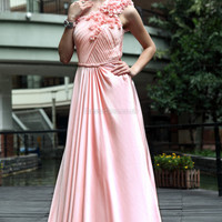 A-line One Shoulder Chiffon Floor-length Pink Flowers Evening Dress at dressestore.co.uk