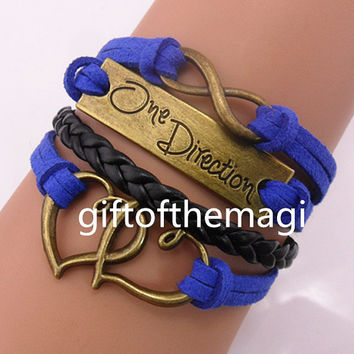 double heart,One Direction,& infinity karma Charm Bracelet Antique bronze-- cotton ropes Leather bracelet--the best friendship gift 1040