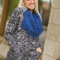 Ribbed Fringe Infinity Scarf (Cobalt) - Piace Boutique