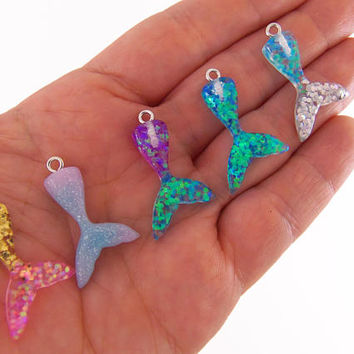 3 Mermaid tail charms, glittery mermaid tails, tiny mermaid tail charm, little mermaid charms, resin charms, kawaii charms, kawaii mermaids