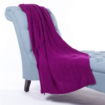 100% Cashmere Cable Rope Stitch Knit Throw by Alashan