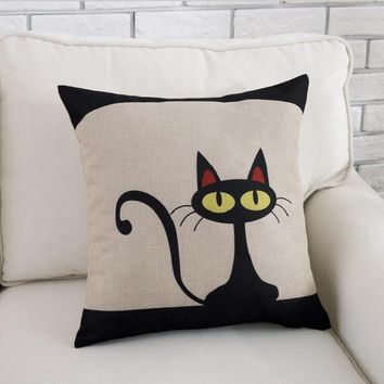 Bedding Linen Cotton Pillowcase Cute Black Cat Pillow Covers Size 45*45cm Home Sofa Accessory