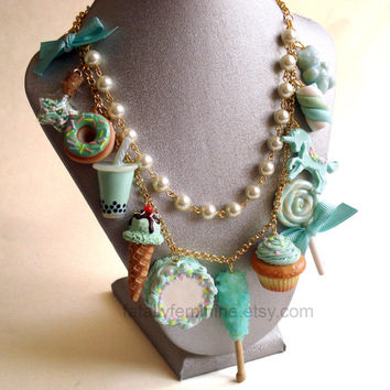 Dessert Statement Necklace Mint Green Necklace Aqua Pastel Unicorn Cake Rock Candy Donut Couture Kawaii Statement Necklace Pin up Jewelry