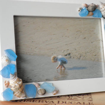 Beach Photo Frame With Seashells And Aqua Blue Sea Glass For Coastal Home Decor