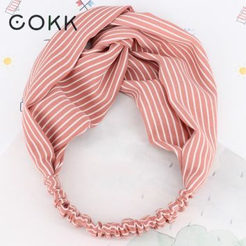 COKK HairBand Headbands For Women Girl Striped Hair Accessories Knot Elastic Hair band bandana Headband Turban Washing Yoga Wide