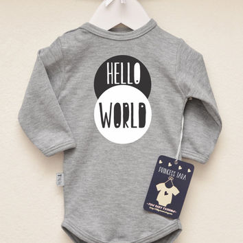 Hello World Baby Coming Home Outfit. Newborn Birth Announcement. Baby Boy or Baby Girl Romper. Modern Baby Clothes. Short or Long Sleeve