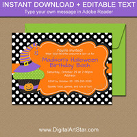 Halloween Birthday Invitation, Witch Hat Invitation, Witch's Hat Invite, Halloween Cupcake Invitation, DIY Kids Halloween Party Invites HC