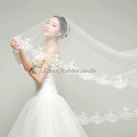 Custom White Ivory Wedding Veil Bridal Veil 3Meters Length Chapel veil Cathedral veil