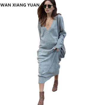 WAN XIANG YUAN Women Sweater Dress 2017 Winter Sexy Club Long Sleeve Dress Women Knitted Maxi Bodycon Party Dresses 1110