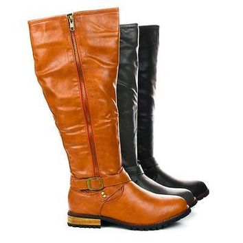 Chapter1 By Liliana, Contrast Zipper Knee High Moto Riding Boots