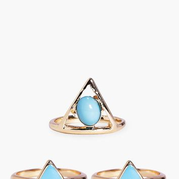Isabella Mixed Triangle Stone Ring Pack | Boohoo