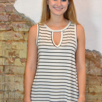 Cut It Out Striped Top: Ivory and Black