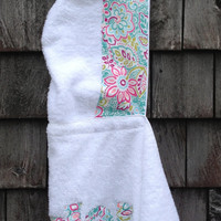 Girls Personalized Hooded Towel White with multi colored floral fabric Beach Pool Bath Swim Towel Girls Kids Children Birthday Gift