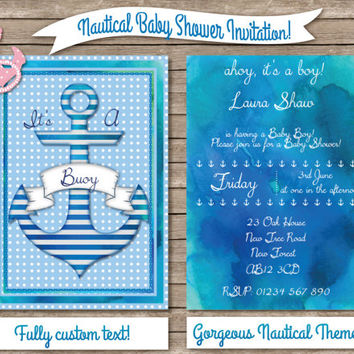 Nautical Baby Shower Custom Invitation