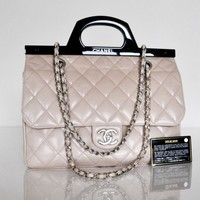 CHANEL Small CC Blush Pink Leather Small Delivery Tote Crossbody Bag