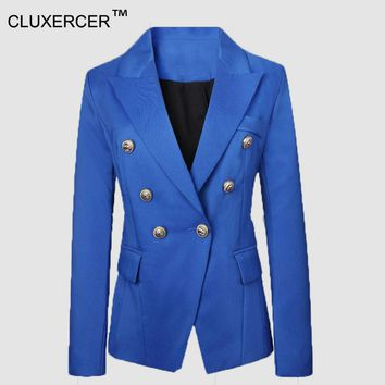 CLUBrand Fashion Slim Red Blazer Women Double Breasted Gold Color Buttons Blazer Brief Suit Jacket Women Blazers and Jackets