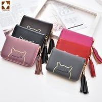 2018 High quality Brand Wallet Women cat Small Purse PU Artificial Leather Wallet Female Zipper Coin Purse Wallet overwatch