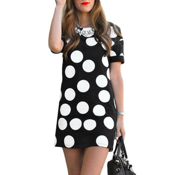 Fashion New Polka Dot Mini Dress Women Summer Short Sleeve Sexy Slim Party Dresses Women's Casual Pencil Dress Office Look #Zer