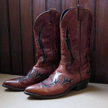 Cyber Monday Sale Womens Vintage Leather Cowboy Boots Western Footwear Rockabilly Boho Fashion Cowgirl Code West Dan Post Division Made In U