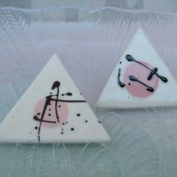 Pink Triangular Ceramic Earrings Japanese Symbol Post Style Vintage Jewelry