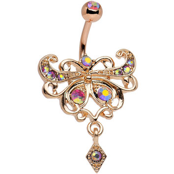 Rose Gold Anodized Red Iridescent Gem Butterfly Dangle Belly Ring