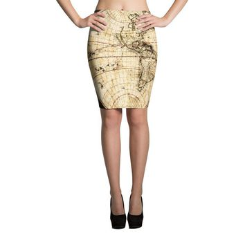 Vintage Map Pencil Skirt