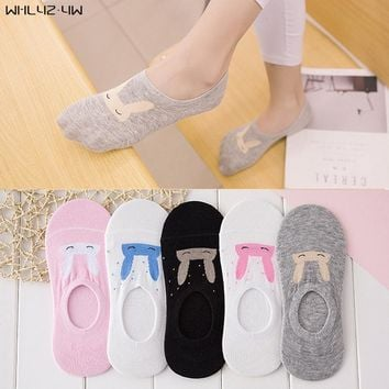10pieces=5pair NEW Ms summer ankle socks women candy color silicone antiskid invisible socks cool Cotton socks free shipping