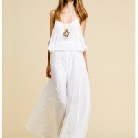 Halston Heritage > Halston Heritage Long Pleated Dress in White @ Singer22.com - Fashion Men's & Women's Online Clothing Store